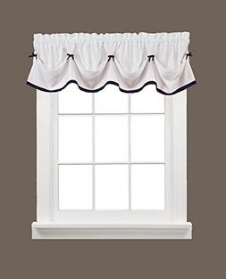 Kate 58 x 13 Valance, White with Black Trim