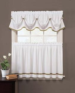 Kate Elegance Kitchen Curtain Tier Pair  - White with Color