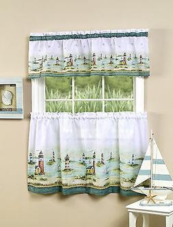 Lighthouses Complete Kitchen Curtain Tier and Valance Set -