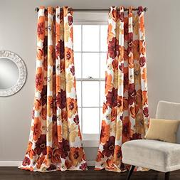 Lush Decor Leah Curtain, Panel Pair 52 x 84, Red/Orange