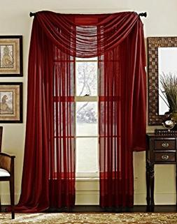 LuxuryDiscounts 2 Piece Solid Burgundy Elegant Sheer Curtain