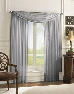 MONAGIFTS 2 PANELS GRAY / SILVER Sheer Voile Window Panel cu