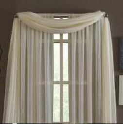 MONAGIFTS BEIGE IVORY CREAM OFF WHITE Scarf Voile Window Pan