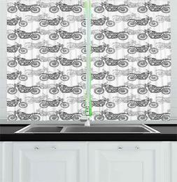 "Motorcycle Kitchen Curtains 2 Panel Set Window Drapes 55"" X"