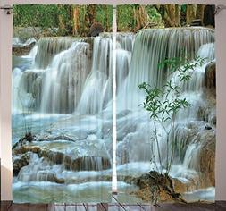 Nature Modern Home Decor Curtains by Ambesonne, Waterfall Ba
