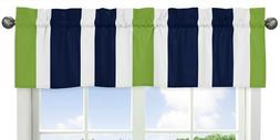 Sweet Jojo Designs Navy Blue White and Lime Green Window Tre