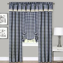 Navy Checkered Plaid Gingham Kitchen Window Curtain Drapes P