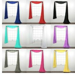Fully Stitched Sheer Window Scarf Valance Topper Curtain Dra