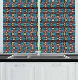 Primary Colors Kitchen Curtains 2 Panel Set Window Drapes 55