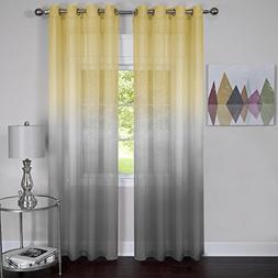 Rainbows and Sunshine Set of 2 Ombre Sheer Window Curtain Pa