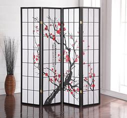 Roundhill Furniture Black Japanese 4-Panel Screen Room Divid