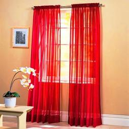 """SET OF 2, 84"""" LONG RED SHEER VOILE CURTAINS / TAILORED CURTA"""