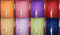 2PC SHEER VOILE WINDOW ROOM CURTAIN PANEL, 20 COLORS, QUALIT
