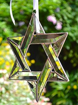 STAR OF DAVID, Real Stained Glass, 12 Clear Bevels, Stunning