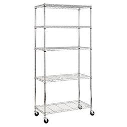 """Sandusky MWS361872 5-Tier Mobile Wire Shelving Unit with 3"""""""