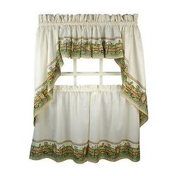 Scenic Farmhouse Print Kitchen Swag, Valances and Tiers