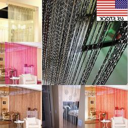 Silver Silk Tassel Window Tube Curtains for Living Room Kitc