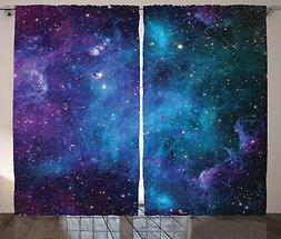 Space Decor Window Curtains by Ambesonne, Galaxy Stars in Ce