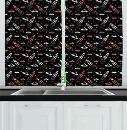"Space Kitchen Curtains 2 Panel Set Window Drapes 55"" X 39"" b"