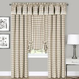 Taupe Checkered Plaid Gingham Kitchen Window Curtain Drapes