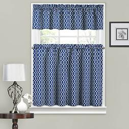 Traditions by Waverly Ellis Tier and Valance Set Indigo