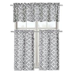 GoodGram Ultra Luxurious Grey Shabby 3 Piece Kitchen Curtain