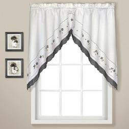 United Curtain Gingham Embroidered Swags, 60 by 38-Inch, Bla
