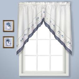 United Curtain Gingham Embroidered Swags, 60 by 38-Inch, Blu