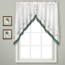 United Curtain Gingham Embroidered Swags, 60 by 38-Inch, Gre