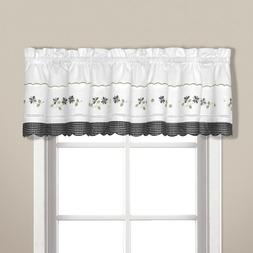 United Curtain Gingham Embroidered Valance, 60 by 14-Inch, B