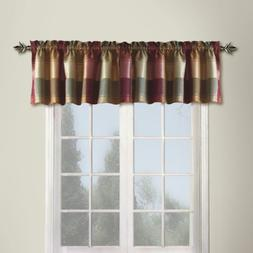 United Curtain Plaid Straight Valance, 54 by 18-Inch, Burgun