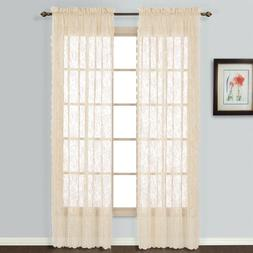 United Curtain Windsor Lace Window Curtain Panel, 56 by 63-I