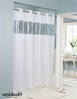 Vision VINYL Shower Curtain HOOKLESS - WHITE with Clear Top