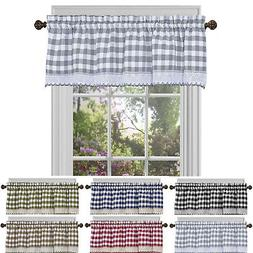Window Curtain Valance Drape Checked Plaid Gingham Kitchen