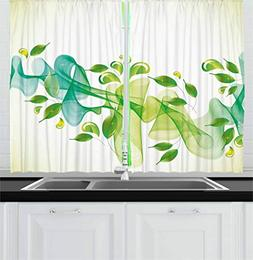 Ambesonne Abstract Decor Kitchen Curtains, Floral Design wit