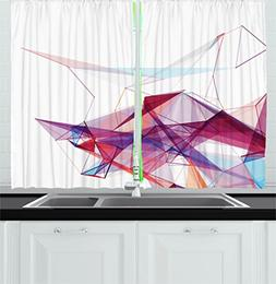 Abstract Decor Kitchen Curtains by Ambesonne, Modern Graphic