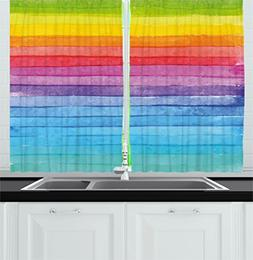 Ambesonne Abstract Decor Kitchen Curtains, Rainbow Colored H