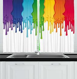 Ambesonne Abstract Kitchen Curtains, Rainbow Colored Paint w