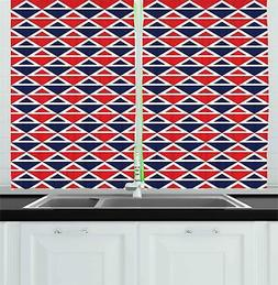 Abstract Vintage Kitchen Curtains 2 Panel Set Window Drapes