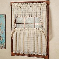 Adirondack Cotton Kitchen Window Curtains - Toast - Tiers, V