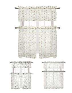 Adler Metallic Embroidered Leaves Sheer Kitchen Curtain Set