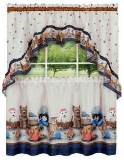 Adorable Puppies & Kittens Kitchen Curtain Tier & Swag Set -