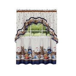 GoodGram Adorable Puppies & Kittens Kitchen Curtain Tier & S