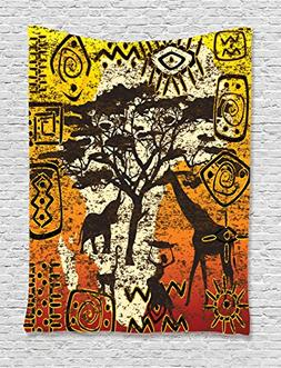 Ambesonne African Decorations Collection, African Animals in