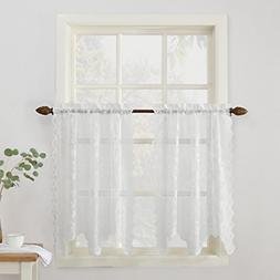 No. 918 Alison Floral Lace Sheer Kitchen Curtain Tier Pair,