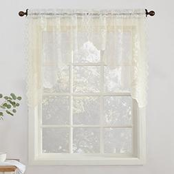 "No. 918 Alison Floral Lace Sheer Curtain Swag Pair, 58"" x 38"