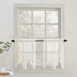 """Alison Floral Lace Sheer Kitchen Curtain Tier Pair, 58"""" x 24"""