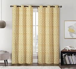 Amadora Gold Grommet Room Darkening Window Curtain Panels, P