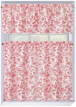 Amelia 3 Pc. Floral Kitchen Curtain Tier & Valance Set - Ass