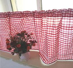 DOKOT American Country Style Checkered Kitchen Curtain, Cafe